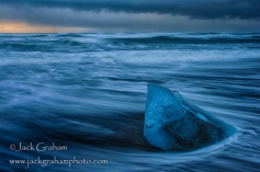 Iceland blue ice on beach by jack graham