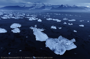 ice on Iceland black beach by jack graham