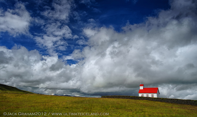 iceland Red roof church by jack graham