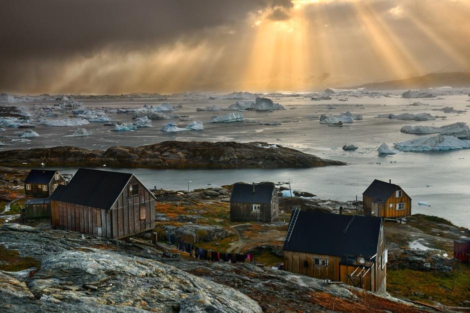 greenland icebergs in bay